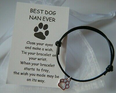 GIFT FROM THE DOG BEST DOG NAN EVER PAW CHARM BRACELET BIRTHDAY CARD in bag