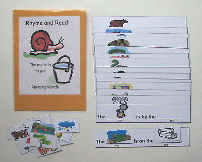Teacher Made Literacy Center Educational Resource Game Read & Rhyme Sentences