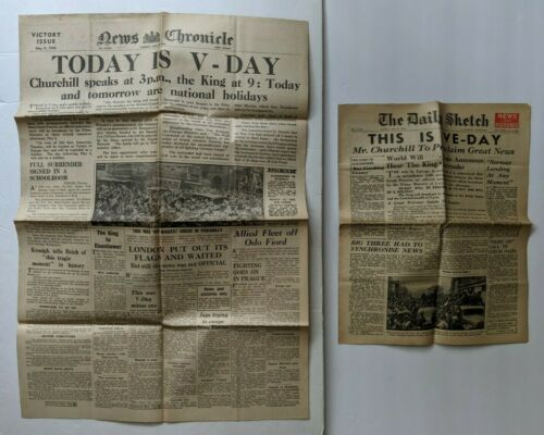 MAY 8 1945 LOT 2 WWII VE DAY NEWS CHRONICLE & DAILY SKETCH ENGLAND UK NEWSPAPERS