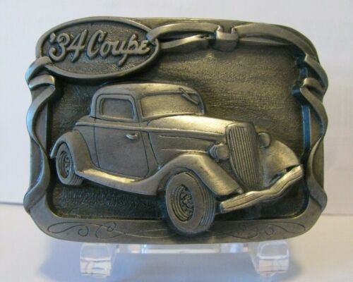 Ford Chevy Plymouth 1934  Coupe Classic Car Automobile Pewter Belt Buckle Old