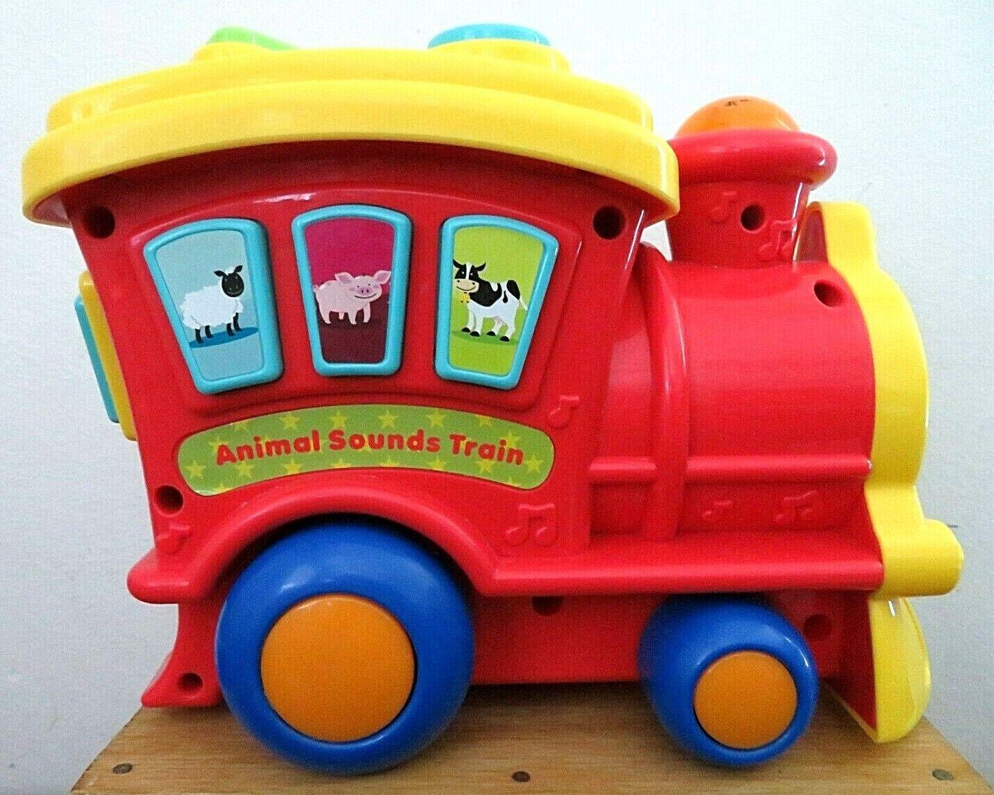 Colorful ANIMAL SOUNDS TRAIN 8 Farm Animal Sounds Educational Pull Along EUC - $19.99