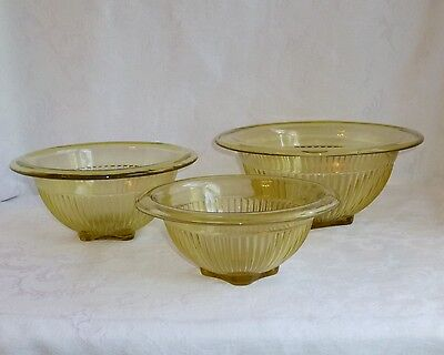 Yellow Depression Glass Rolled Edge Mixing Bowls Set of 3