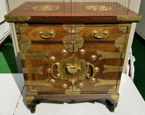VINTAGE KOREAN DISPLAY CABINET CHEST TABLE CALLIGRAPHY APOTHECARY MEDICINE