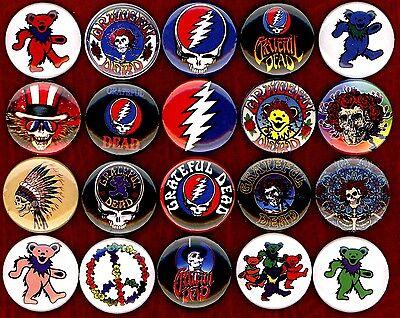 "Grateful Dead x 20 1"" NEW buttons pin badge logo jerry garcia bear the head"
