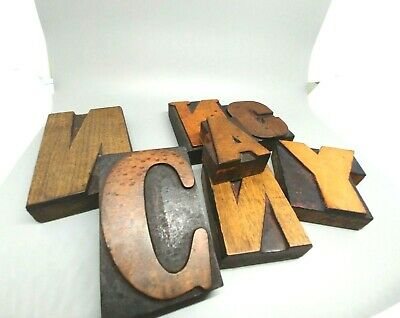 Lot Vtg English Wood Print Type Block Letters Handcarved Spells Nancy 7