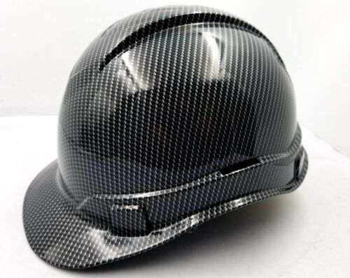 Hard Hat custom hydro dipped , OSHA approved , NEW TRUE WEAVE CARBON FIBER 2