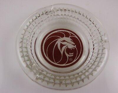 MGM Las Vegas Casino hotel Vintage glass Ashtray Leo the Lion head round