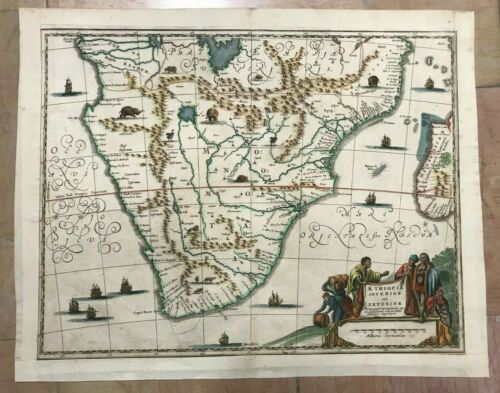 SOUTH AFRICA 1686 DAPPER Olfert NICE UNUSUAL ANTIQUE ENGRAVED MAP 17TH CENTURY