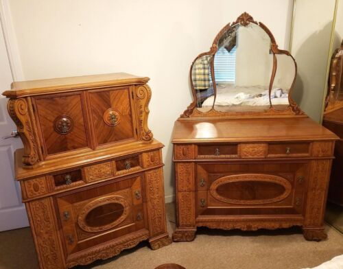 Antique Bedroom Set , High Chest and Dresser + mirror Mixed Wood Carved Vintage