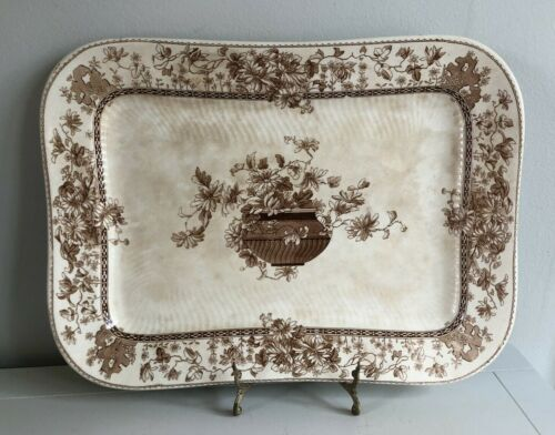 1800's Doulton Burslem Aesthetic Period Large. Brown Transferware Platter 15.5""