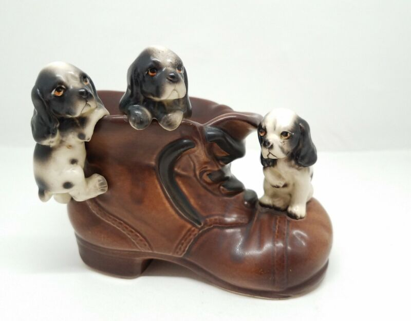 Vintage Ceramic Planter Three Puppies Playing On A Brown Shoe, Japan, Enesco?