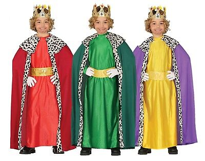 Kings Crown Kostüme (THREE WISE MEN KING ROBE INC CROWN & CLOAK CHILDS NATIVITY FANCY DRESS COSTUME)