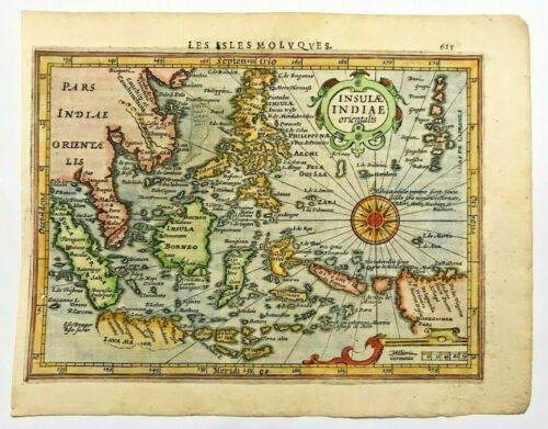 EAST INDIES 1613 MERCATOR HONDIUS ATLAS MINOR NICE UNUSUAL ANTIQUE MAP 17TH CENT