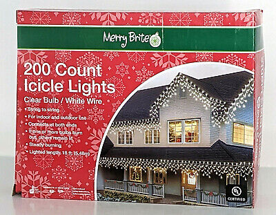 Merry Brite 200 Count Icicle Lights Clear Bulb Indoor Outdoor 19 ft White Wire