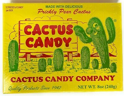 Prickly Pear Cactus Candy 1/2 Pound Box - 12 pieces of Candy per Box - Sealed