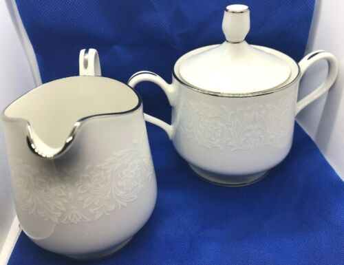 Carlton Japan Plymouth 303 China White Floral Creamer Sugar Bowl Silver Trim