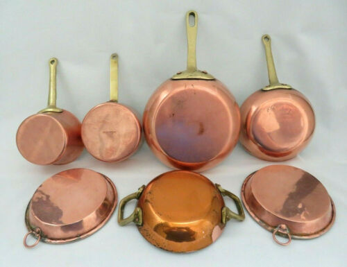 Set of Seven Vintage French Very Small Copper Pots / Pans Some w/ Brass Handles