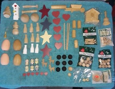 Lot 100+ Wood Arts crafts Kits Supplies Doll House Hearts Balls Stars Christmas