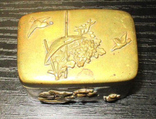 OLD BRONZE JAPANESE MIXED METAL TRINKET SNUFF JAR BOX