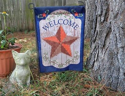 Small Country Flags (New! Country Primitive Red Barn Star Small Garden)