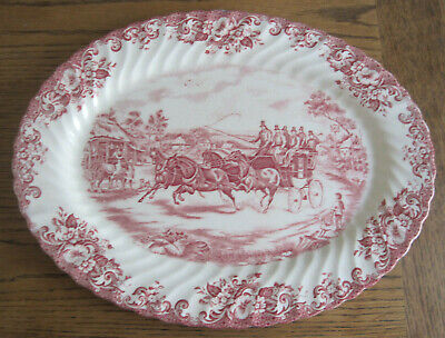 Johnson Brothers Coaching Scenes Oval Platter 'Passing Through' Pink & White