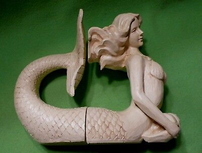 Two-piece set of MERMAID BOOKENDS in ivory / cream color.Combined weight 6 pound