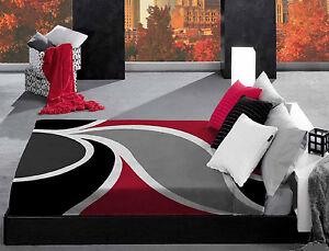 Copriletto grigio nero rosso morbidissima coperta matrimoniale vip felce foglia - Copriletto matrimoniale rosso ...