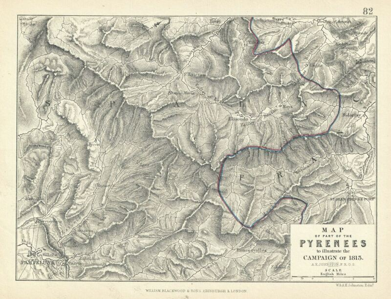 1852 Blackwood Map of part of the Pyrenees Moutains