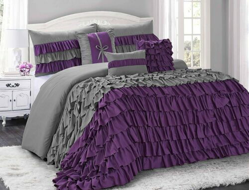 HIG 7 Piece BRISE Double Color Classic Ruffled Comforter Set-Queen King Cal King