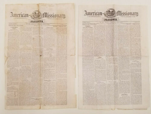 Freedmen American Missionary Association Abolitionist Newspaper 2 Issues 1865-66