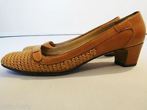 VINTAGE 1960s LADIES WOVEN LEATHER SHOES BROWN ELEGANT TIMELESS CHIC UK 5.5 6 39