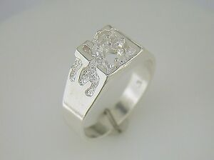 mens one ring setting sterling silver