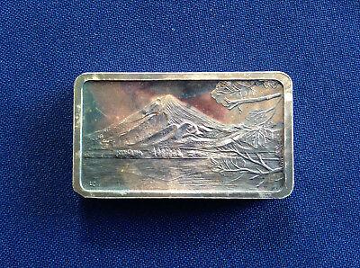 1974 Jacques Cartier Mint Fujiyama Volcano Japan Unlisted Silver Bar E5327