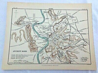 circa 1880s map of ancient rome !  ( adam & charles black )
