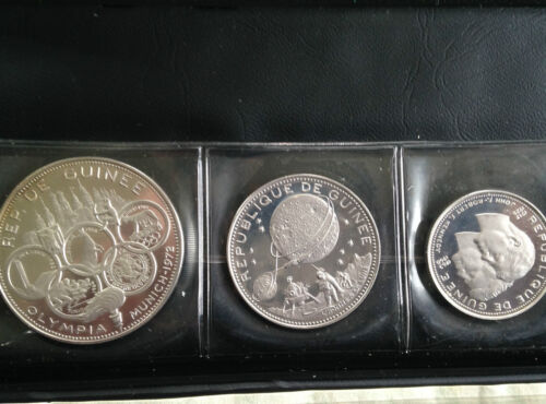 1969 Guinea Original Silver Proof Set 3 of 4 Coins  M1666