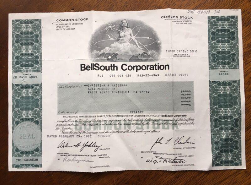 1987 BellSouth CORPORATION STOCK  CERTIFICATE 6 SHARES Woman Vignette