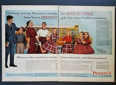 1957 J.C. Penneys Back to School Boy Pulling Girls Hair 1950s Fashions Print Ad