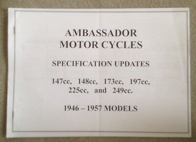 AMBASSADOR MOTOR CYCLES SPECIFICATION UPDATES.147cc to 249cc 1946 - 1957 MODELS.