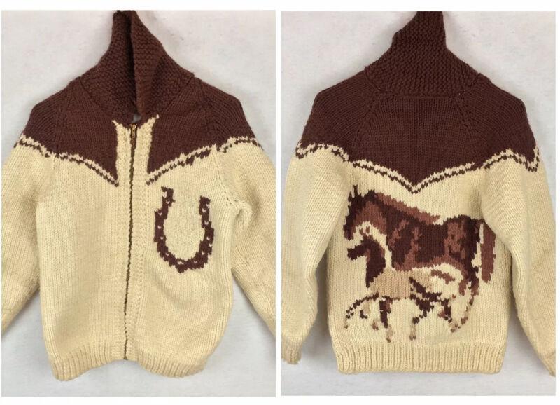 VTG 50s 60s Equestrian Cowichan Style Horse Sweater Jacket Wool Knit Western