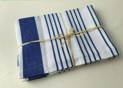 (4) Vintage White NAVY BLUE Stripe COTTON Kitchen Dish Towels PASTRY Cloths