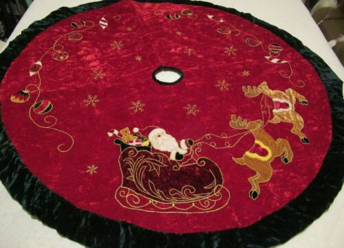 Vintage Christmas Tree Skirt Red Crushed Velvet/Quilted  Large