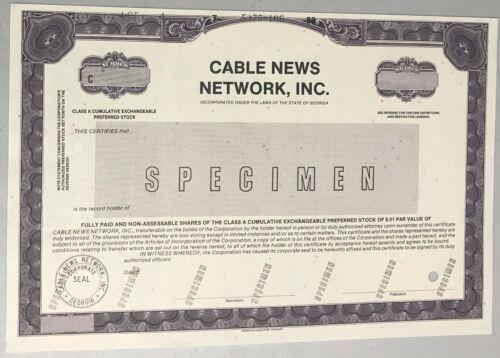 1988 CABLE NEWS NETWORK Inc. CNN Stock Certificate SPECIMEN