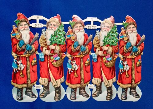 Vintage 78 Santa & 10 Krampus Scraps PZB & Other Sheets Die Cut German