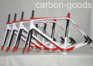 CARBON-RED-WHITE-GLOSSY-ROAD-BIKE-BICYCLE-FRAMESET-RACING-BIKE-FRAME-WITH-FORK