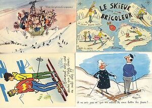 Lot-de-4-cartes-postales-HUMORISTIQUE-SKI