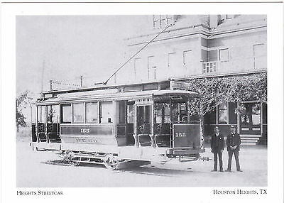 """+PC-Postcard-""""Heights Streetcar""""(California Cars delivered-1902) Houston (#39)"""