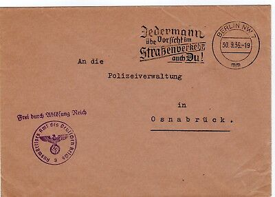 Germany 1936 stampless official envelope