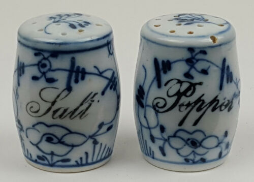 Antique Salt & Pepper Porcelain Blue & White Shakers