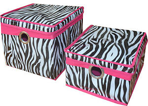 Set 2, Collapsible Lidded Home Storage Bins w/ Zebra Design.