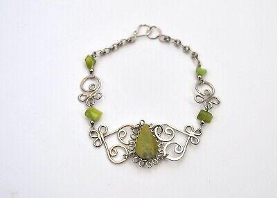 Pulsera mujer plateada y verde alpaca y piedra nueva bisuteria complementos moda